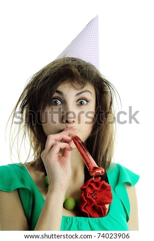 An image of a woman in a hat with a horn - stock photo