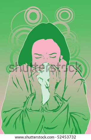 An image of a woman suffering from a cold and blowing her nose into a tissue - stock photo