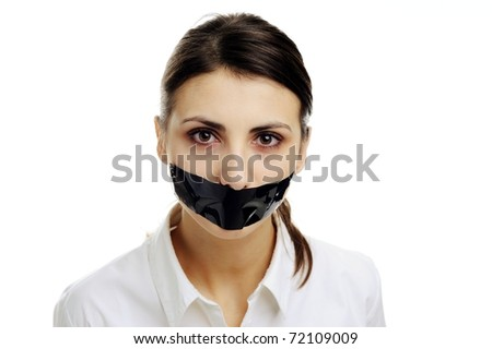 An image of a woman with covered mouth - stock photo
