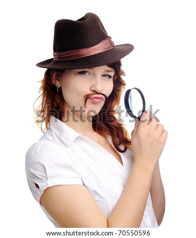 An image of a woman with magnifying glass - stock photo
