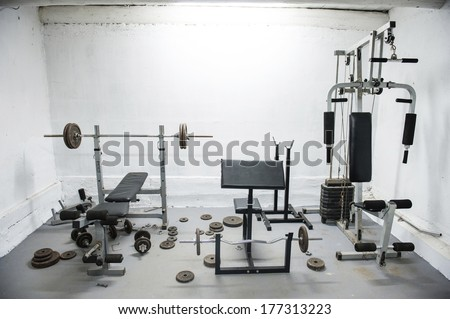an image of amateur home gym - stock photo