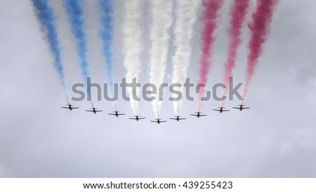 An image of an air show at London in June - stock photo