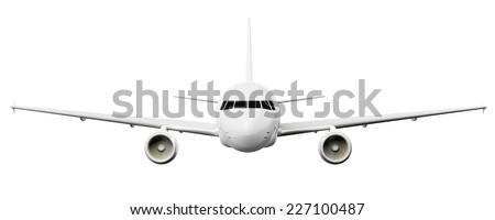An image of an airplane isolated on a white background - stock photo