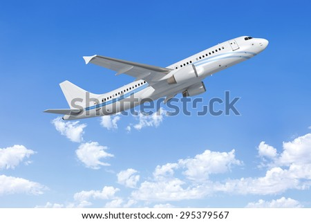 An image of an Airplane over the clouds - stock photo