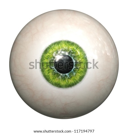 An image of an isolated green eyeball - stock photo