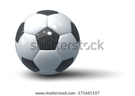 An image of an isolated typical black and white soccer ball - stock photo