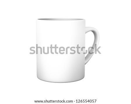 An image of an isolated white coffee mug - stock photo