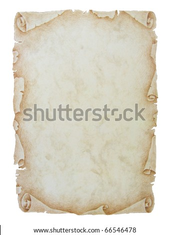 An image of an old paper scroll on a white background with copy space - stock photo