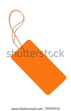 An image of an orange label isolated on white - stock photo
