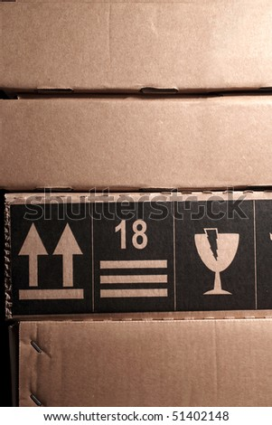 an image of cardboards stack in a row - stock photo