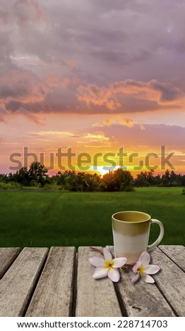 An image of coffee cup and flower on old wood table which have sunset as back ground - stock photo