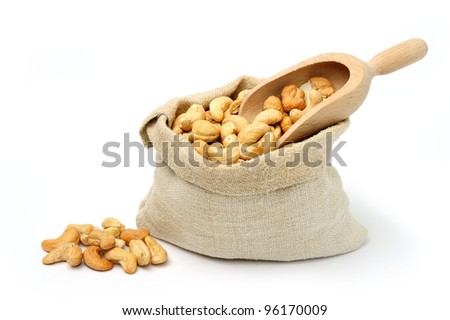 An image of delicious cashew in a textile sack - stock photo