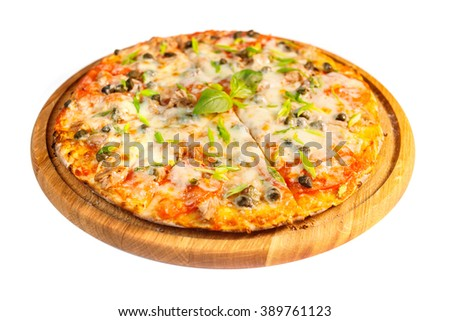 an image of delicious pizza with tuna - stock photo