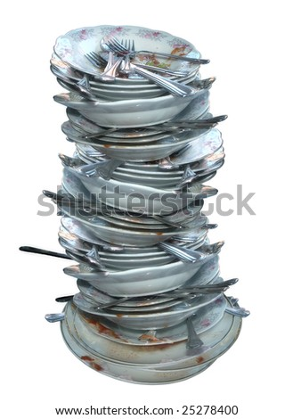 an image of dirty dishes on white background - stock photo