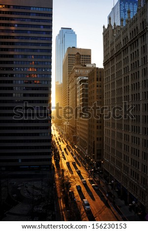 an image of downtown buildings at dusk - stock photo