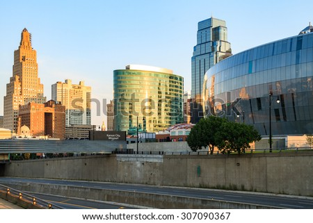 An image of downtown Kansas City Skyline with no trademarks.  Kansas City is located in Jackson County, Missouri. - stock photo