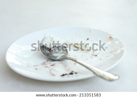 An image of empty dessert dish and fork. - stock photo