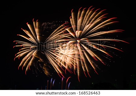 An image of exploding fireworks at night. Represents a celebration. - stock photo