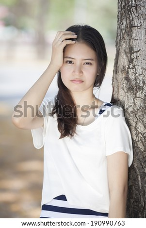 An image of girl with headache  - stock photo