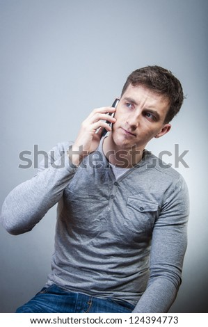 An image of man talking by phone - stock photo