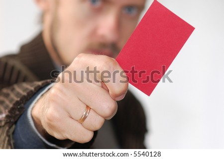 An image of men showing red card - stock photo