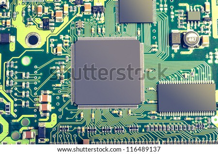 An image of microchip background - technology concept - stock photo