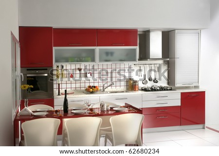 an image of Modern Kitchen drawers and Granite Countertop - stock photo