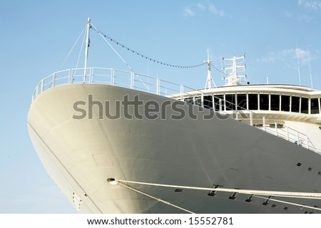 An image of part of big cruise ship. - stock photo