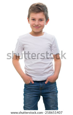 an image of Photo of adorable young happy boy looking at camera. - stock photo