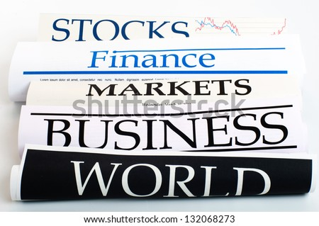 An image of rolls of business newspapers - stock photo