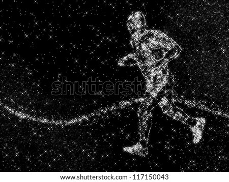 an image of running young athlete made of constellation on black stellar sky - stock photo