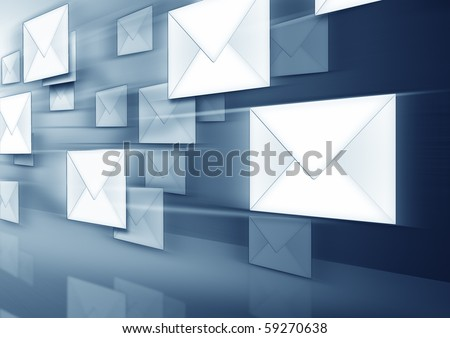 An image of some flying envelopes - stock photo