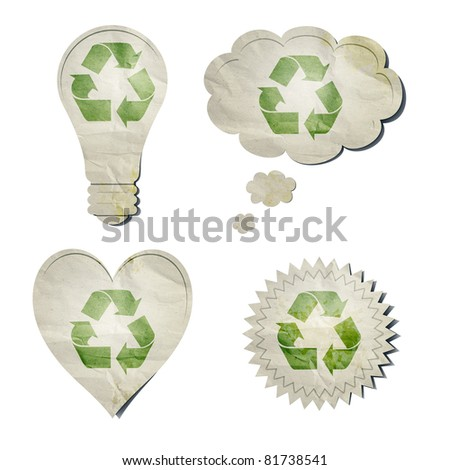 An image of some stylish recycling stickers - stock photo