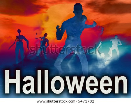 An image of some zombies with some nightime clouds behind them, with the word Halloween in the foreground. - stock photo