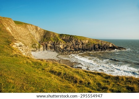 An image of Southerndown beach in south wales in the uk, an area of natural beauty - stock photo