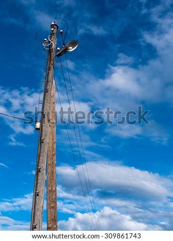 an image of street light on blue sky - stock photo