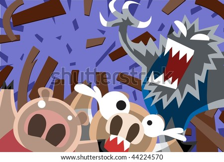 An image of the big bad wolf blowing away the wooden house of the second little pig - stock photo
