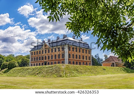 An image of the majestic Christinehof castle in the Skane region of Sweden. - stock photo