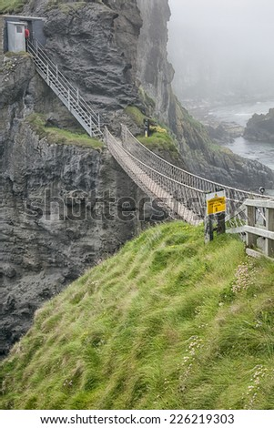 An image of the rope bridge at Carrick A Reed North Ireland - stock photo