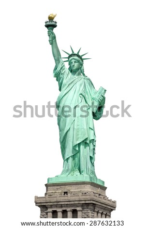 An image of the Statue of Liberty in New York isolated on white - stock photo