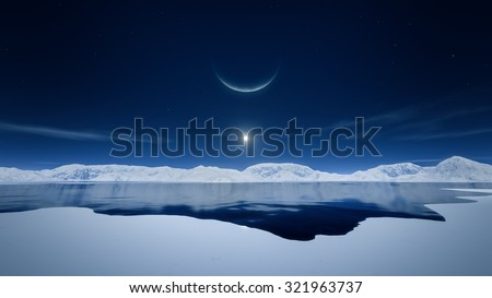 An image of the sun and the moon in polar region - stock photo