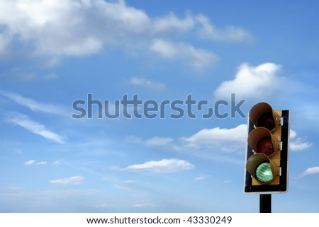 an image of traffic lights while green light on - stock photo