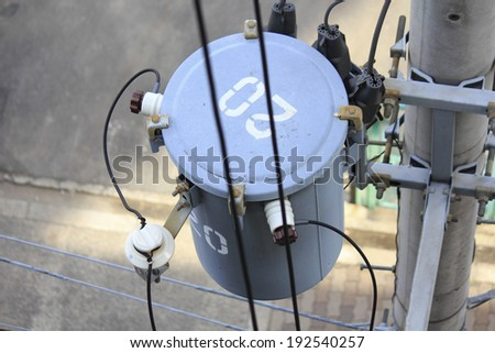 An image of Transformer of electric pole - stock photo