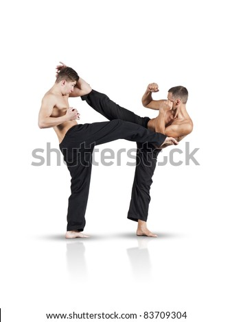An image of two fighting men isolated on white background - stock photo