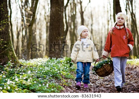An image of two sisters walking n the wood - stock photo