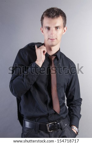 an image of young handsome businessman - stock photo