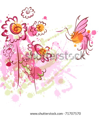 An image with a bird ans colorful leaves - stock photo