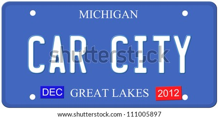 An imitation Michigan license plate with December 2012 stickers and Car City written on it making a great Detroit or Michigan auto concept.  Words on the bottom Great Lakes. - stock photo