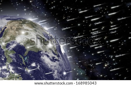 An impressive falling of asteroids hits the earth and causes the end of mankind. Elements of this image furnished by NASA - stock photo