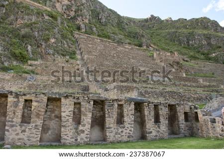 An Inca ruin landmark near San Pedro and Pampamarca in Peru. - stock photo